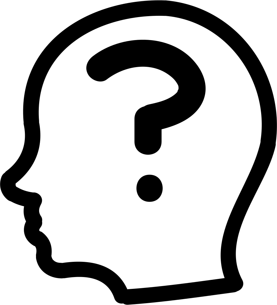 Head outline png. Question mark inside a