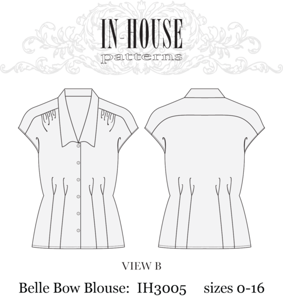 Headband drawing sewing pattern. In house belle blouse