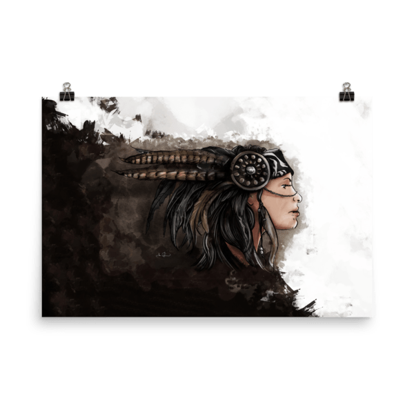 Headband drawing skeleton. Girl in feather poster