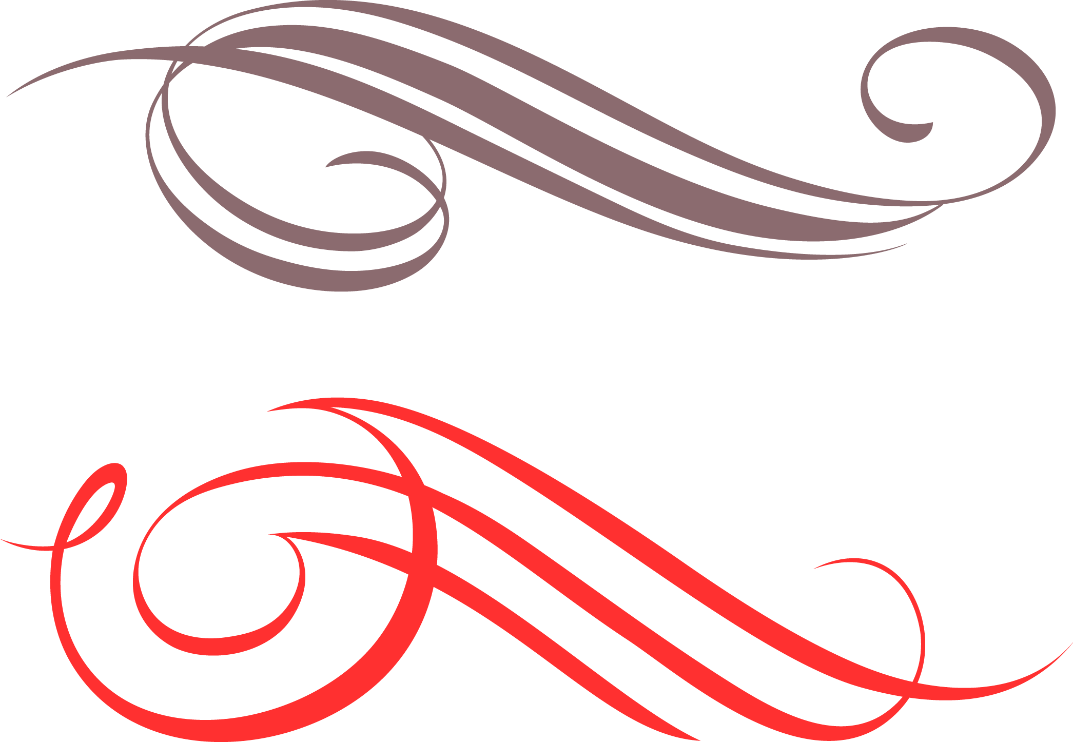 Vector underline calligraphy. Collection of free curving
