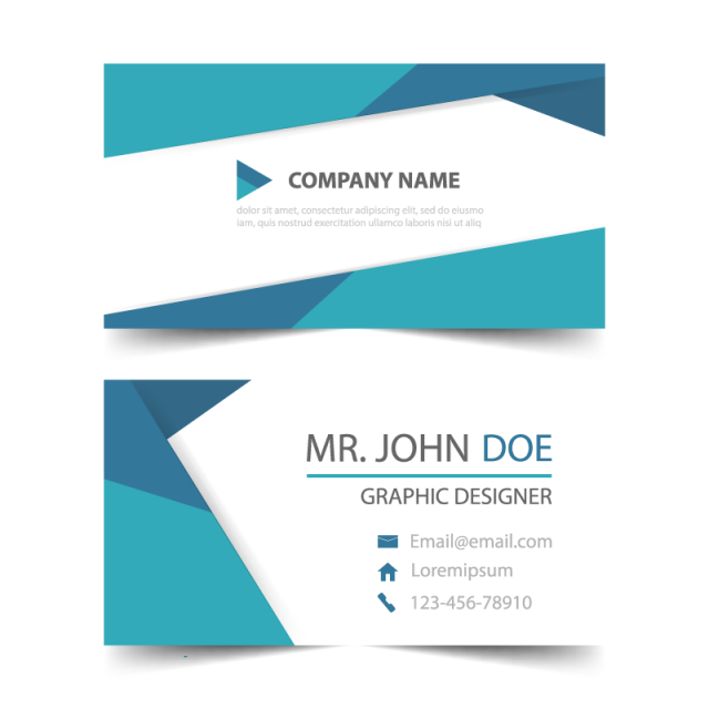 Header vector geometric. Blue corporate business card