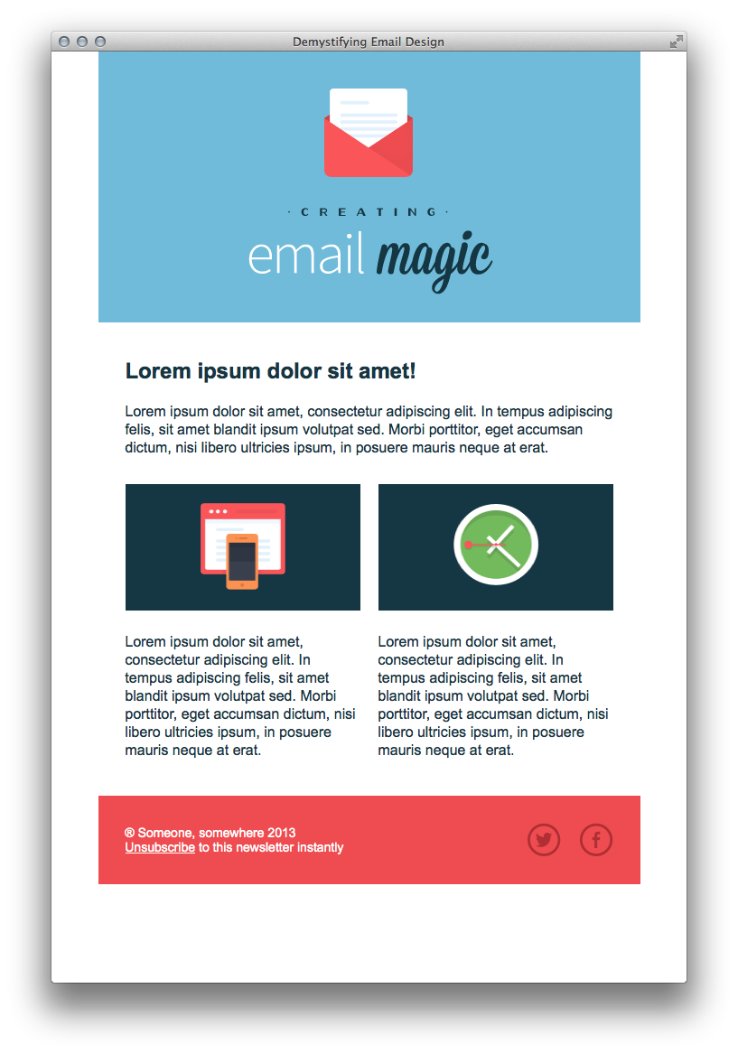 Header vector page design. Build an html email