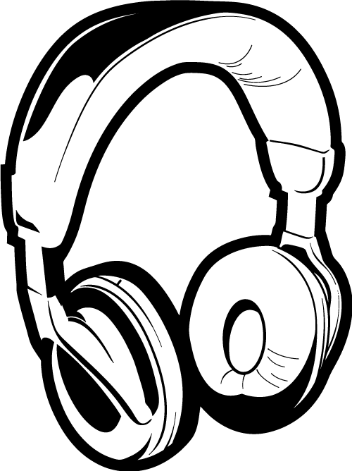Headphone clipart. Computer black and white