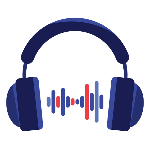 Headphone transparent blue. Audio headphones icon png