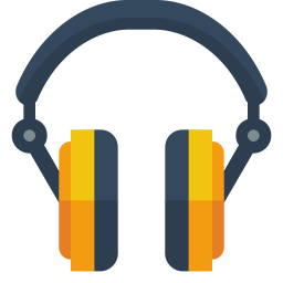 Headphone transparent illustration. Icon small flat iconset