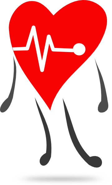Heart . Health clipart banner black and white