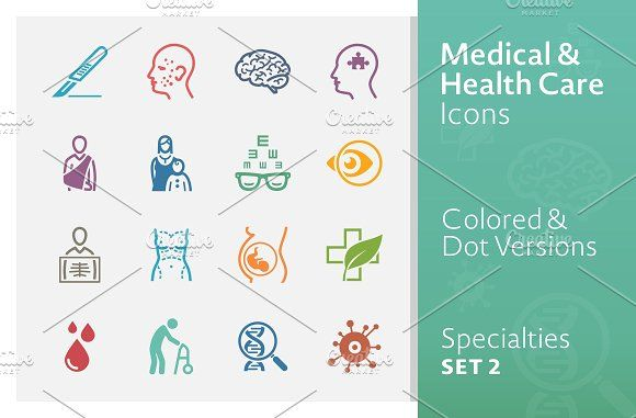 Healthcare clipart medical specialty. Colored specialties icons by