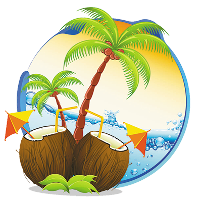 Coconuts vector cartoon. Zinga travel services private