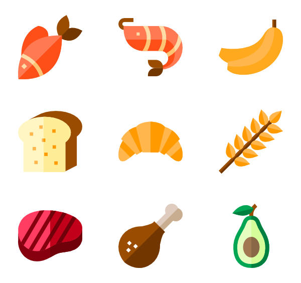 Healthy vector flat. Nutrition icon packs
