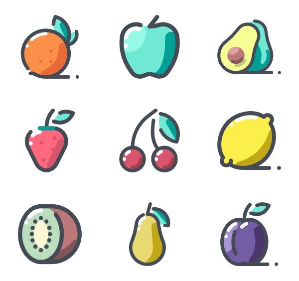 Healthy vector food. Icon packs svg