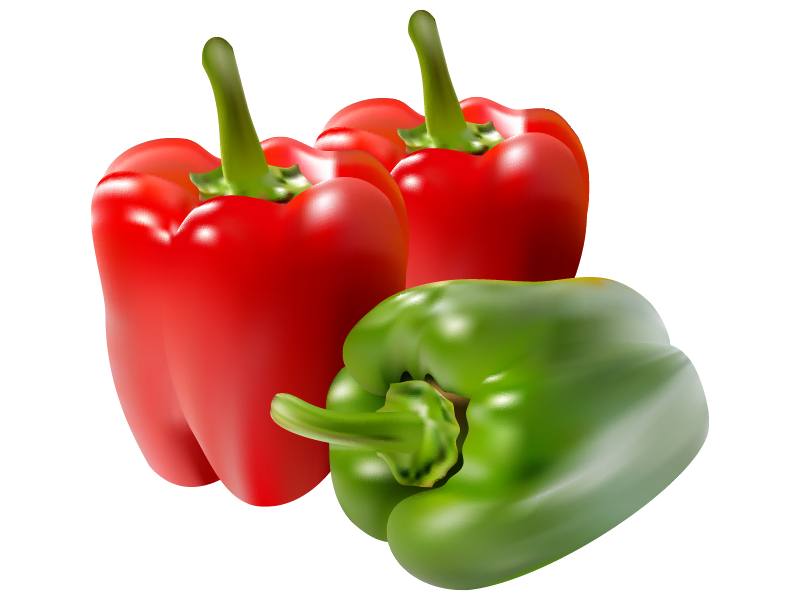 Healthy vector realistic. Paprika red green meshfill