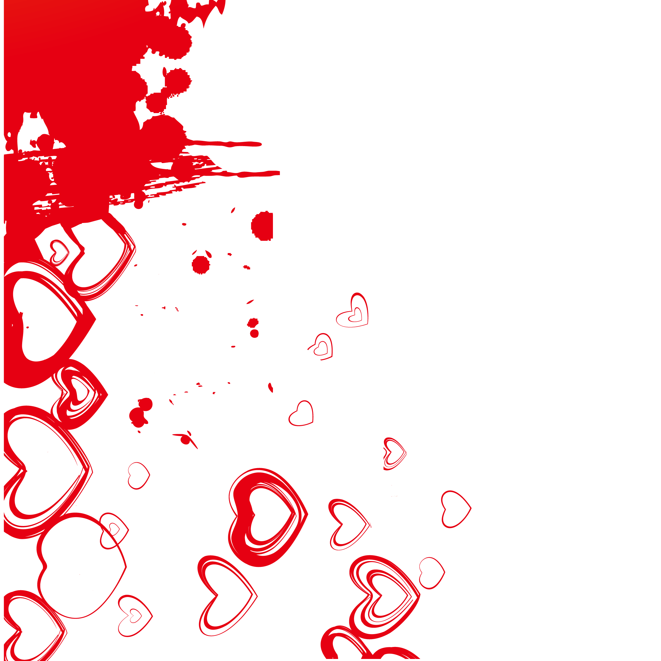 Heart background png. Red ink vector material