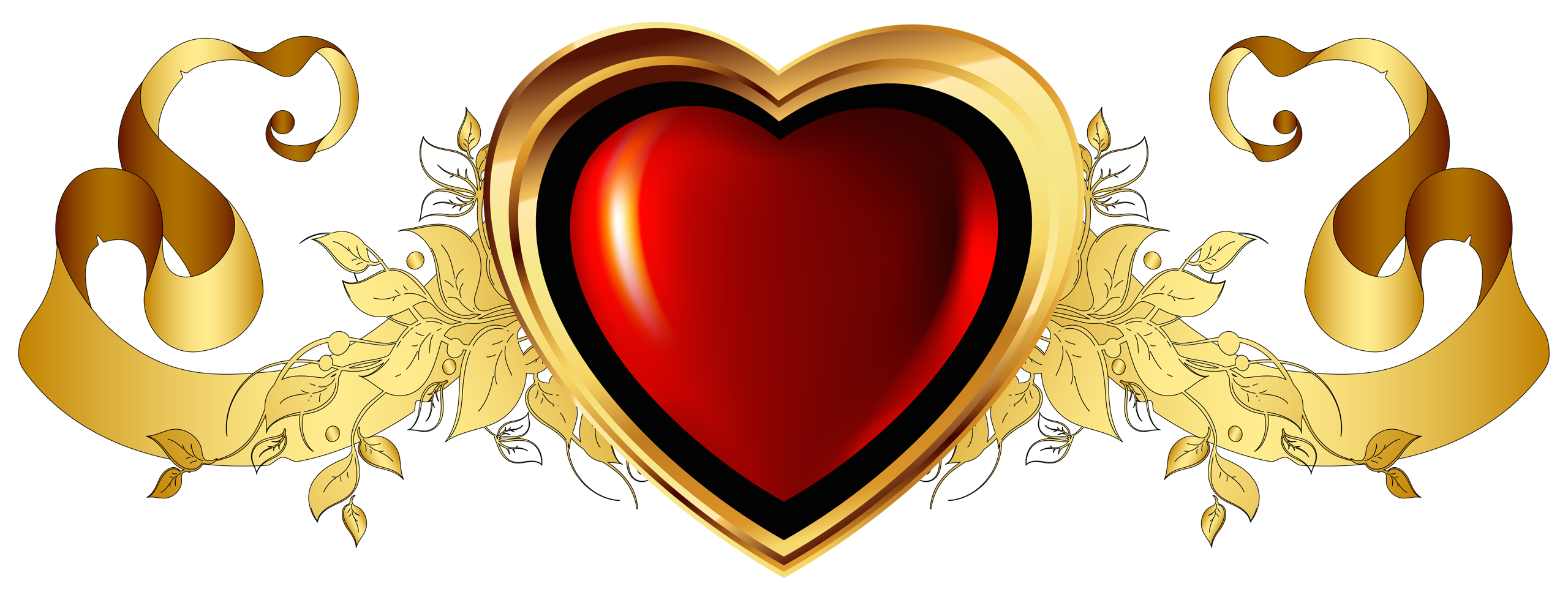 Heart banner png. Large red with gold