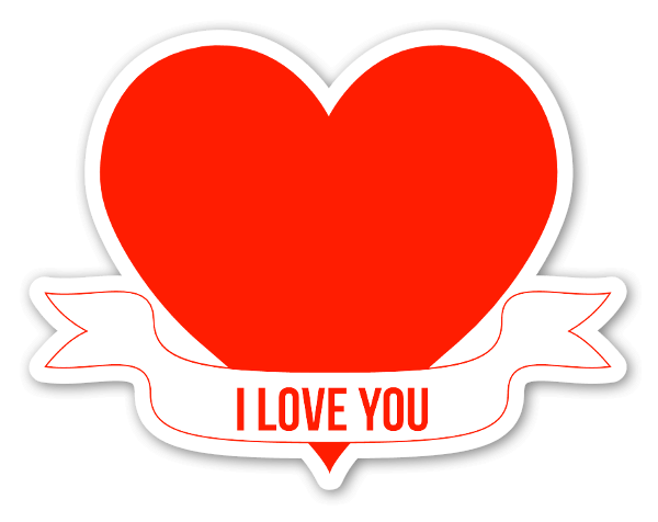 Heart banner png. Stickerapp i love you