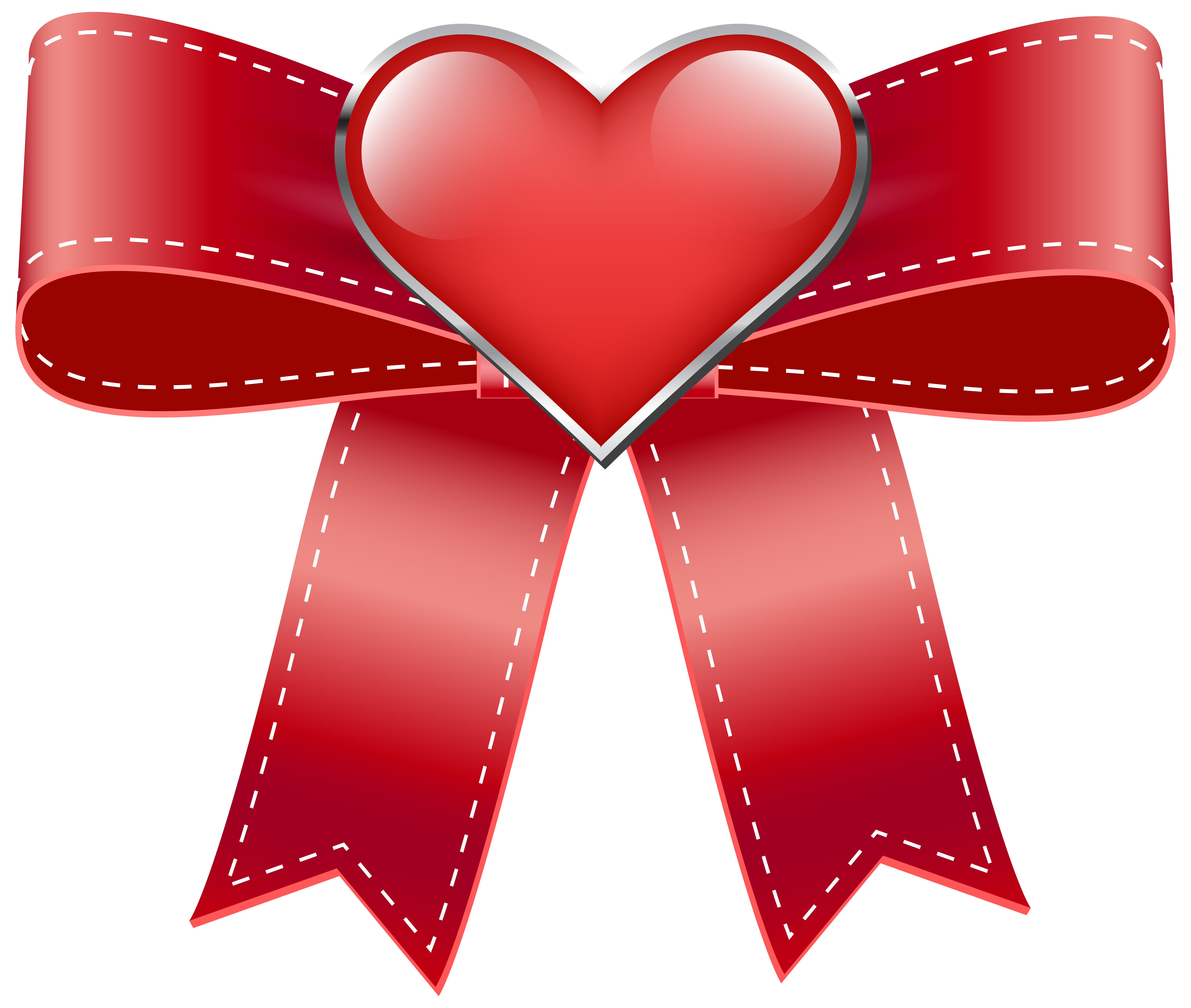 Heart banner png. Red bow with transparent