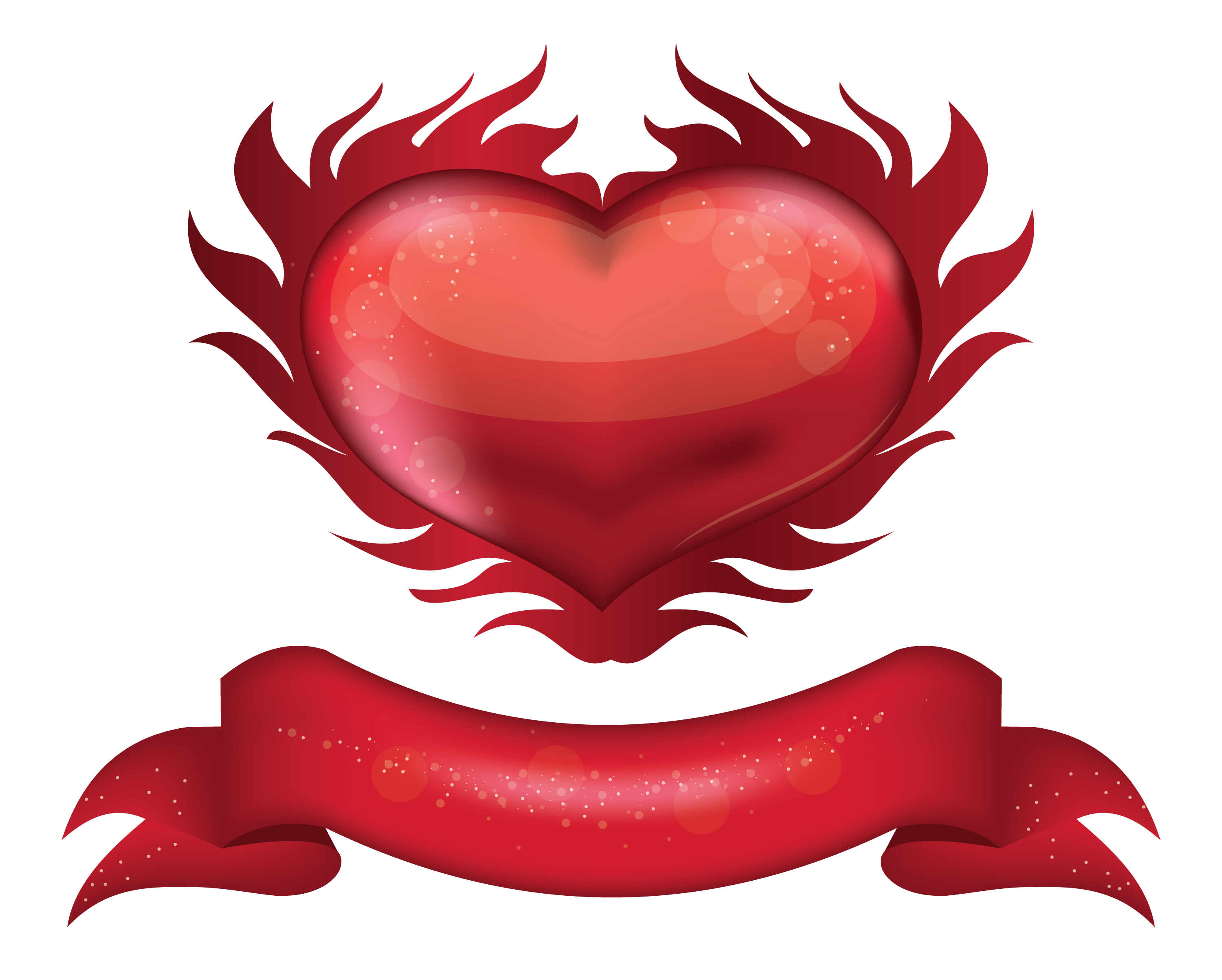 Heart banner png. Red with clipart picture
