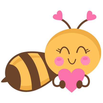 Cute clipart. Girl bee holding heart