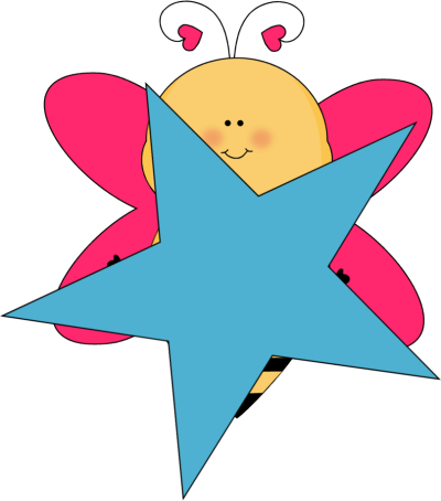 Heart clipart bee. With a blue star