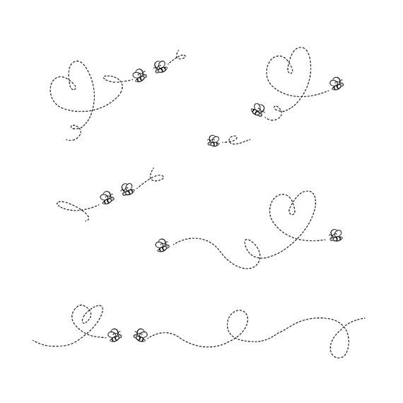 Cute bee clip art graphic package set