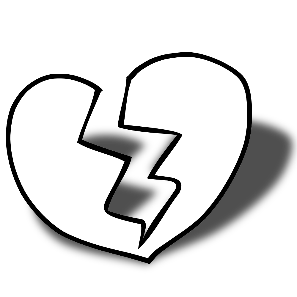 Heart clipart black and white png. Broken panda free images