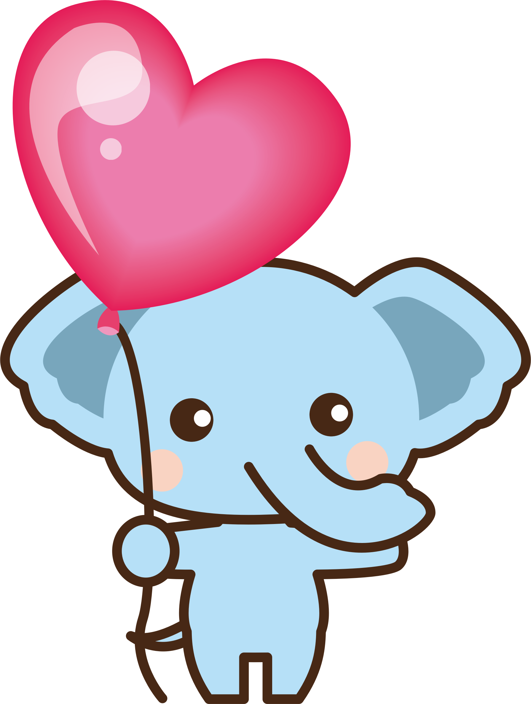 Heart clipart elephant. With balloon big image