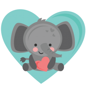 Heart clipart elephant. Valentine svg cuts scrapbook