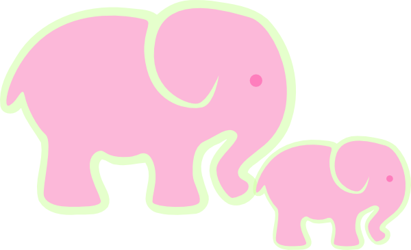 Heart clipart elephant. Pink and baby clip