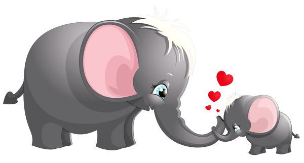 Heart clipart elephant. Cartoon mama pictures