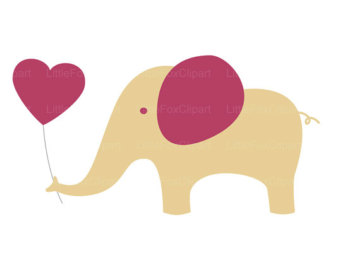 Pencil and in color. Heart clipart elephant vector download