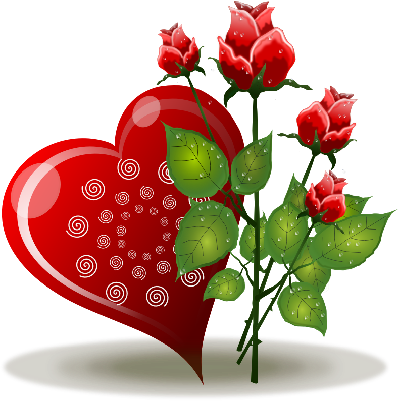 Heart clipart plant. Red roses and hearts