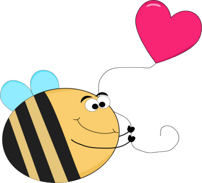 Heart clipart water. Funny bee with a
