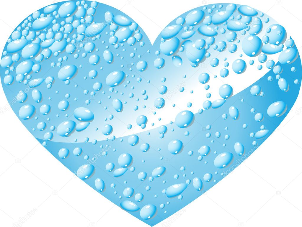 Heart clipart water. From drops stock vector