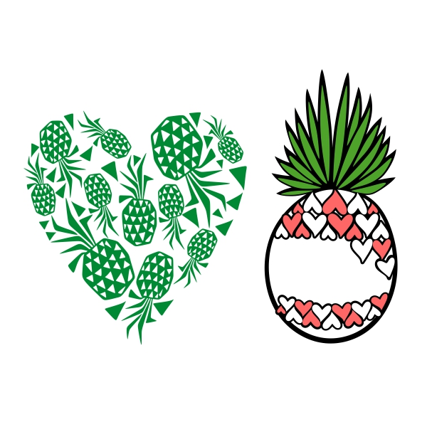 Heart pineapple. Cuttable design