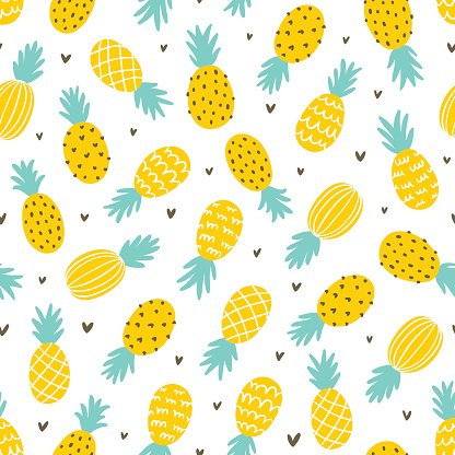 Heart pineapple. And hearts seamless pattern