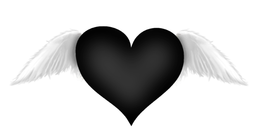 Heart png black. With wings transparent clipart
