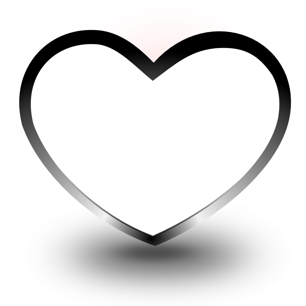 Heart png black and white.