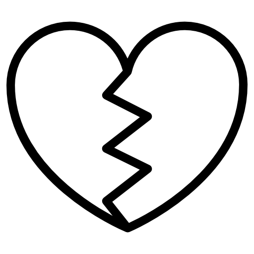 Heart png black and white. Heartbreak flat icon svg