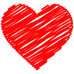 Heart, png doodle. Heart icon free vector