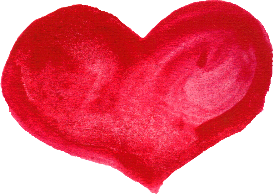 Heart png free. Red watercolor transparent