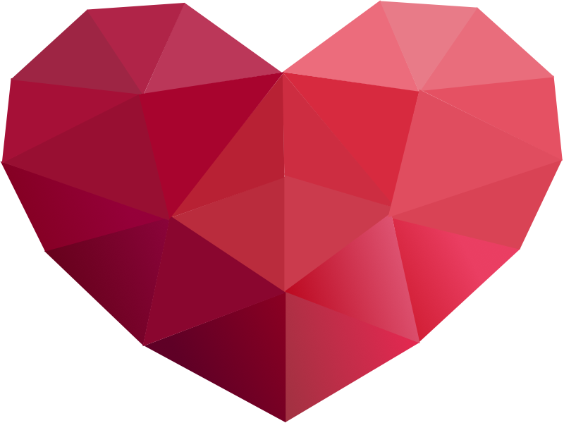 J transparent origami. Free red heart icon