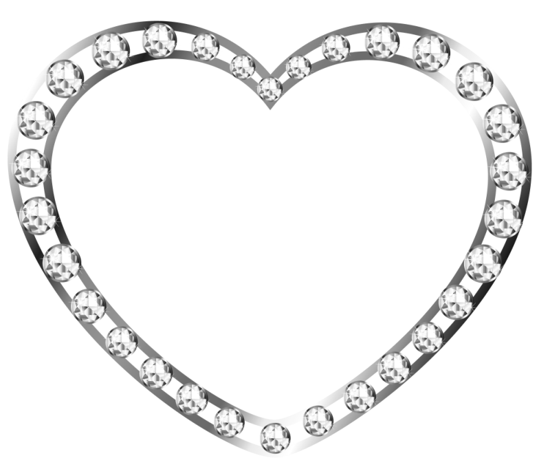Heart, png silver. Heart with diamonds free