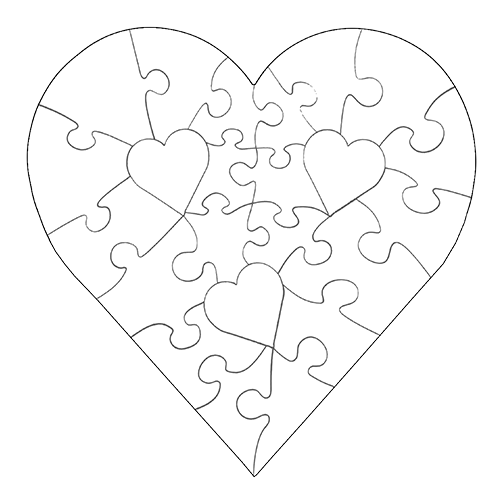 Heart puzzle png. Piece shaped white