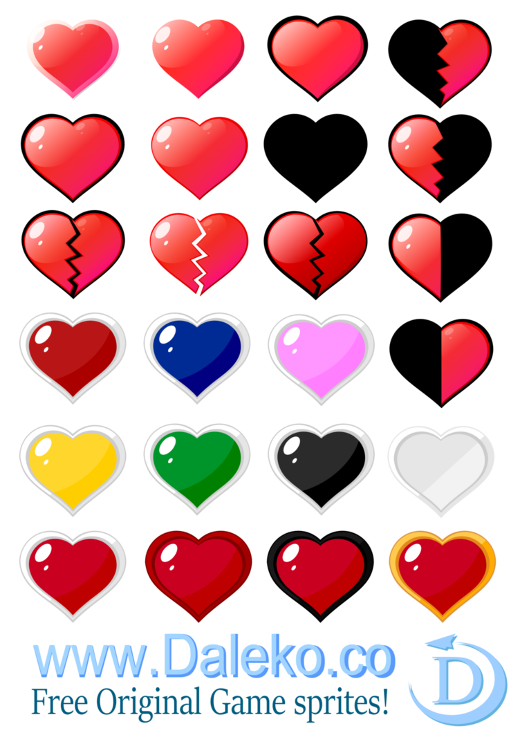 Heart sprite png. Sprites by dalekostudios on