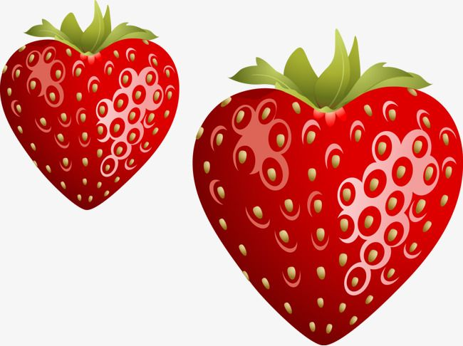 Heart strawberry. Vector shaped clipart