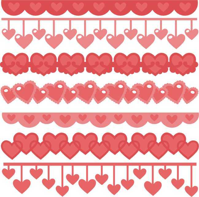 Hearts border png. Heart borders svg cutting