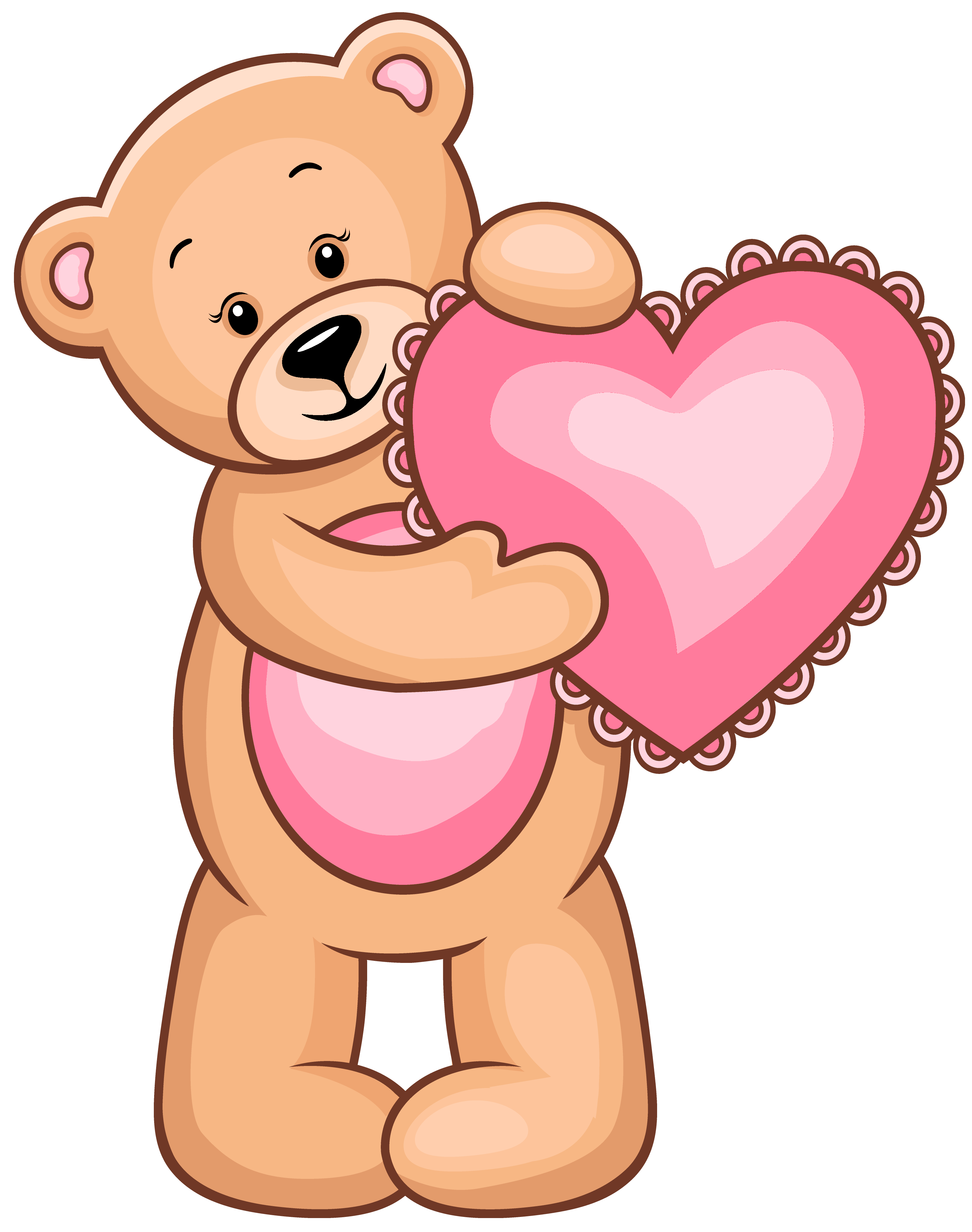 Hearts clipart bear. Transparent teddy with pink