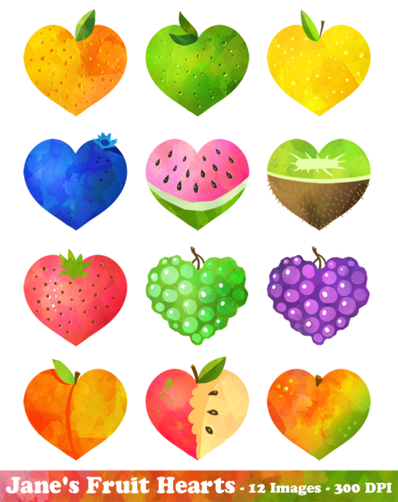 Hearts clipart food. Watercolor fruit and by