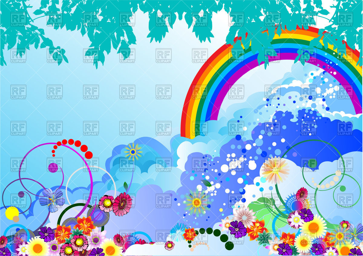 Heaven clipart. With clouds and rainbow clip art library download