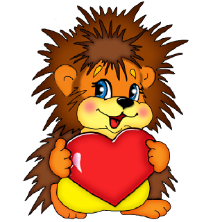 Hedgehog clipart baby hedgehog. Cartoon with red love