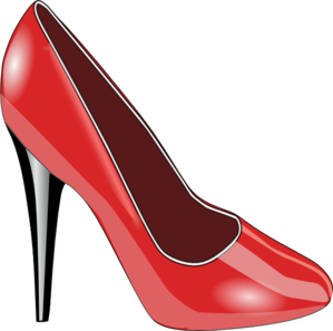 Heel clip shoes. Red high art at